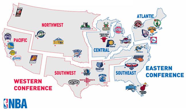 Usa Map Nba